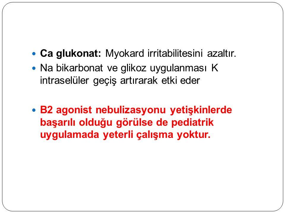 Ca glukonat: Myokard irritabilitesini azaltır.