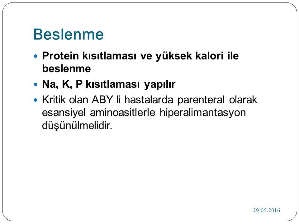 Beslenme Protein kısıtlaması ve yüksek kalori ile beslenme Na, K, P kısıtlaması yapılır Kritik olan ABY li hastalarda parenteral olarak esansiyel aminoasitlerle hiperalimantasyon düşünülmelidir.