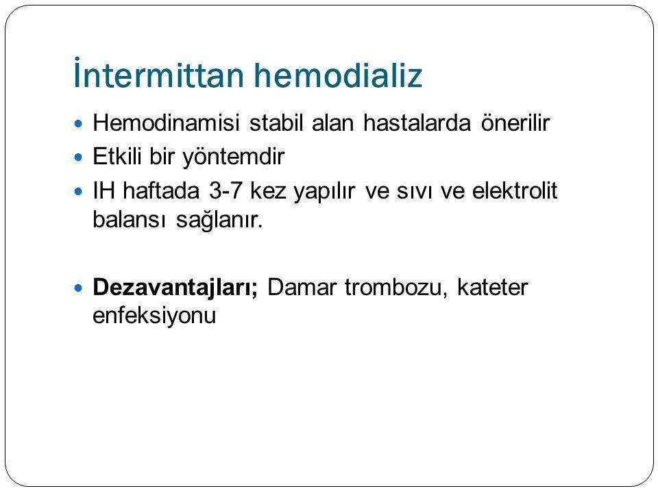İntermittan hemodializ Hemodinamisi stabil alan hastalarda önerilir Etkili bir yöntemdir IH haftada 3-7 kez yapılır ve sıvı ve elektrolit balansı sağlanır.