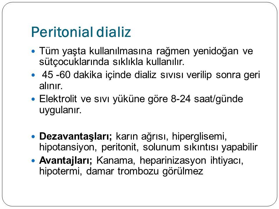 Peritonial dializ Tüm yaşta kullanılmasına rağmen yenidoğan ve sütçocuklarında sıklıkla kullanılır.