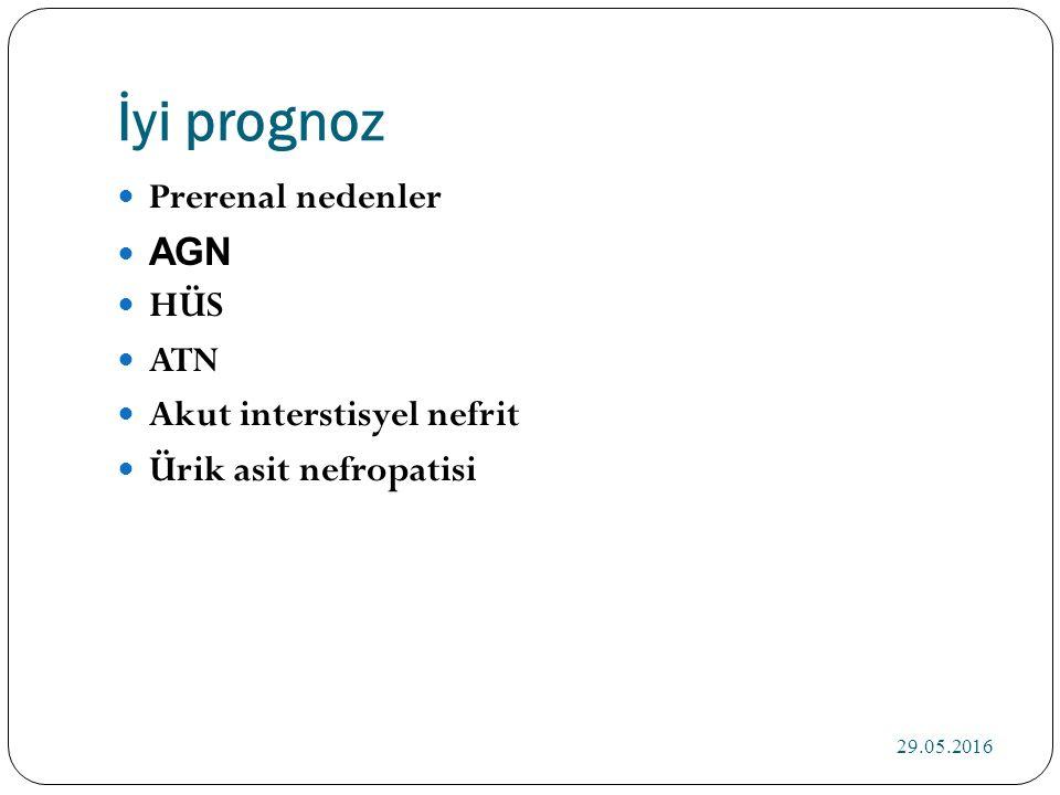 İyi prognoz Prerenal nedenler AGN HÜS ATN Akut interstisyel nefrit Ürik asit nefropatisi 29.05.2016