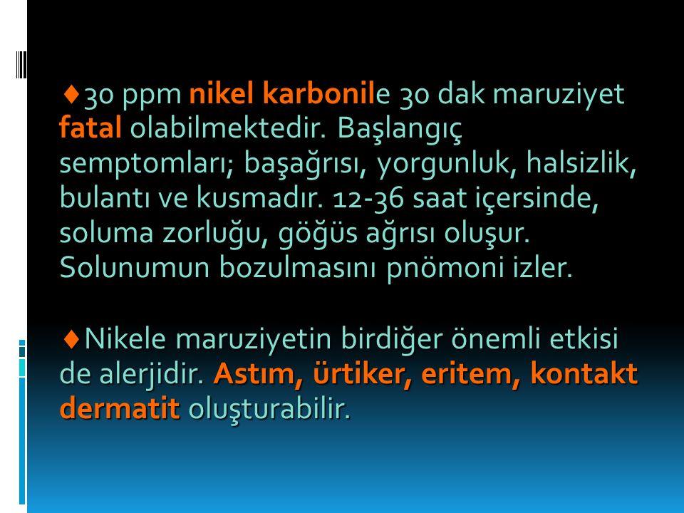  30 ppm nikel karbonile 30 dak maruziyet fatal olabilmektedir.