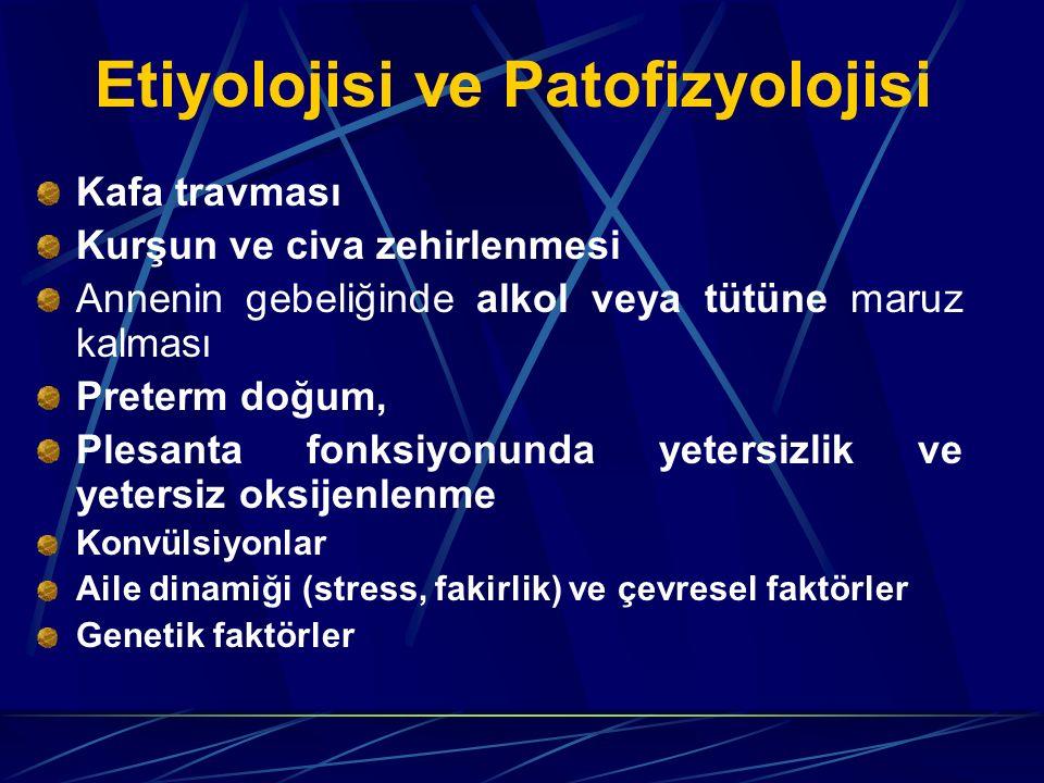 Etiyolojisi ve Patofizyolojisi Kafa travması Kurşun ve civa zehirlenmesi Annenin gebeliğinde alkol veya tütüne maruz kalması Preterm doğum, Plesanta fonksiyonunda yetersizlik ve yetersiz oksijenlenme Konvülsiyonlar Aile dinamiği (stress, fakirlik) ve çevresel faktörler Genetik faktörler