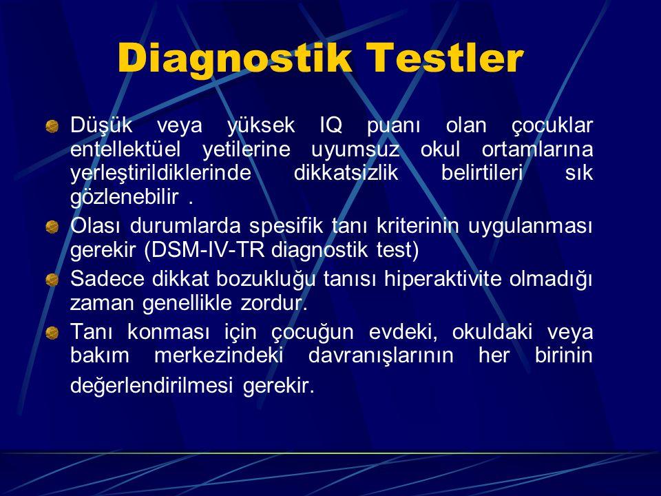 Diagnostik Testler Düşük veya yüksek IQ puanı olan çocuklar entellektüel yetilerine uyumsuz okul ortamlarına yerleştirildiklerinde dikkatsizlik belirtileri sık gözlenebilir.