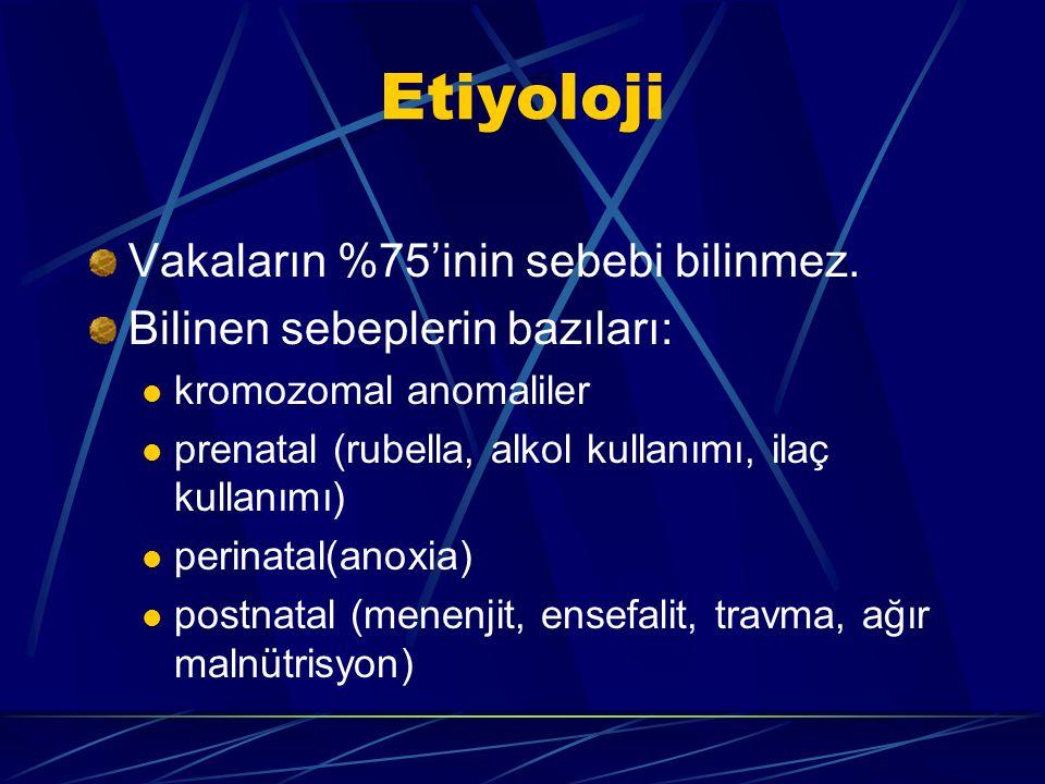 Etiyoloji Vakaların %75'inin sebebi bilinmez. Bilinen sebeplerin bazıları: kromozomal anomaliler prenatal (rubella, alkol kullanımı, ilaç kullanımı) p