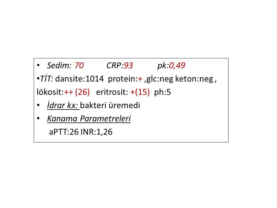 Sedim: 70 CRP:93 pk:0,49 TİT: dansite:1014 protein:+,glc:neg keton:neg, lökosit:++ (26) eritrosit: +(15) ph:5 İdrar kx: bakteri üremedi Kanama Parametreleri aPTT:26 INR:1,26