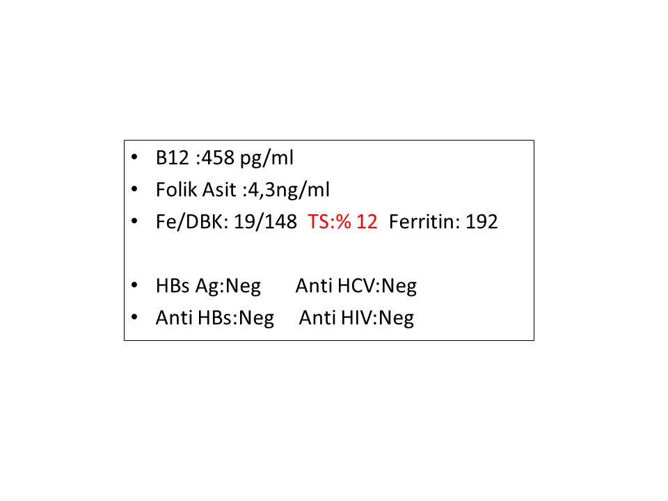 B12 :458 pg/ml Folik Asit :4,3ng/ml Fe/DBK: 19/148 TS:% 12 Ferritin: 192 HBs Ag:Neg Anti HCV:Neg Anti HBs:Neg Anti HIV:Neg