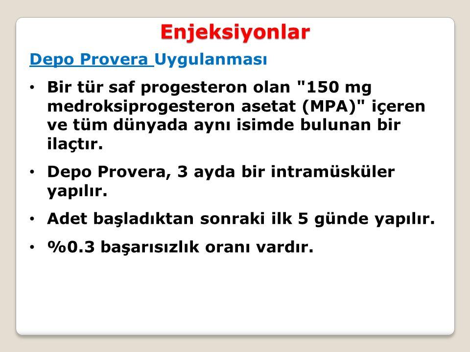 Enjeksiyonlar Depo Provera Uygulanması Bir tür saf progesteron olan