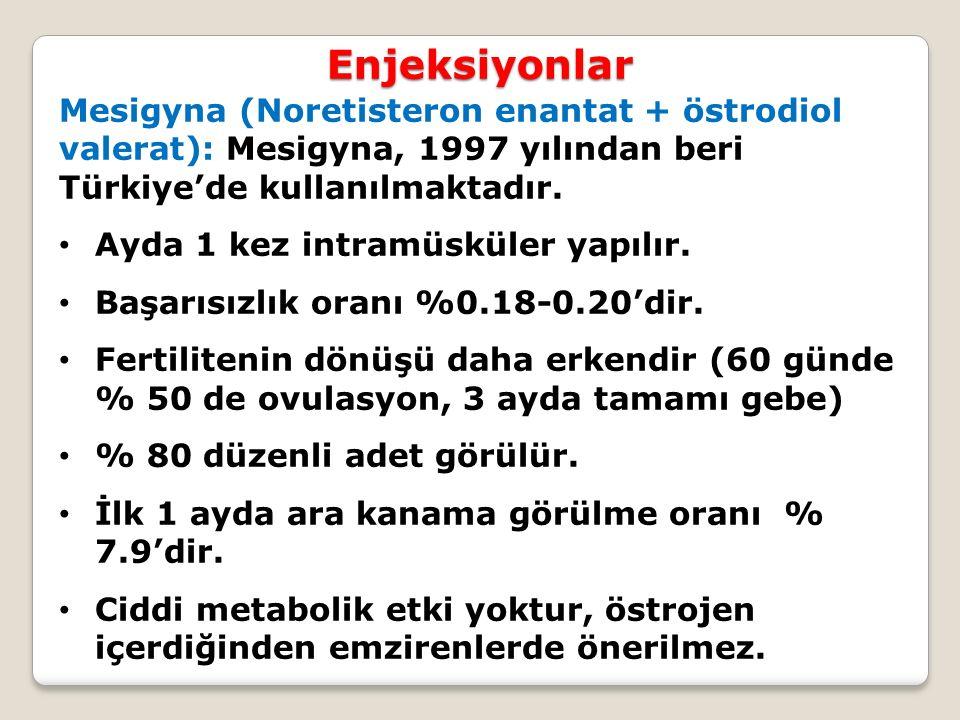 Enjeksiyonlar Mesigyna (Noretisteron enantat + östrodiol valerat): Mesigyna, 1997 yılından beri Türkiye'de kullanılmaktadır. Ayda 1 kez intramüsküler