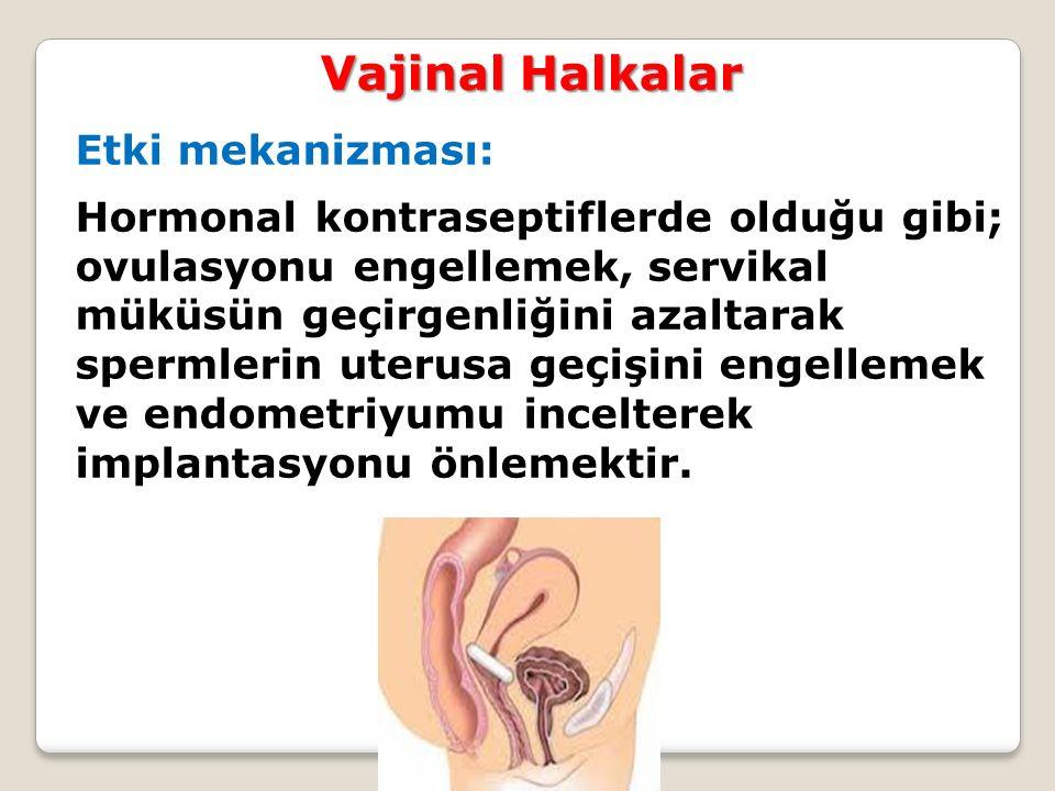 Etki mekanizması: Hormonal kontraseptiflerde olduğu gibi; ovulasyonu engellemek, servikal müküsün geçirgenliğini azaltarak spermlerin uterusa geçişini