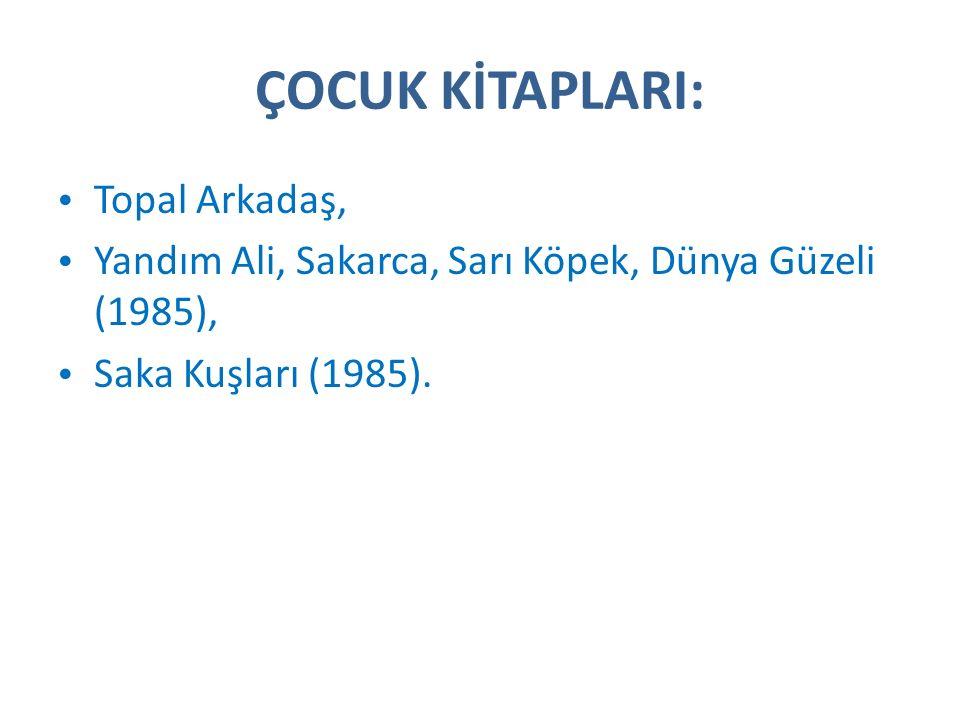 ÇOCUK KİTAPLARI: Topal Arkadaş, Yandım Ali, Sakarca, Sarı Köpek, Dünya Güzeli (1985), Saka Kuşları (1985).
