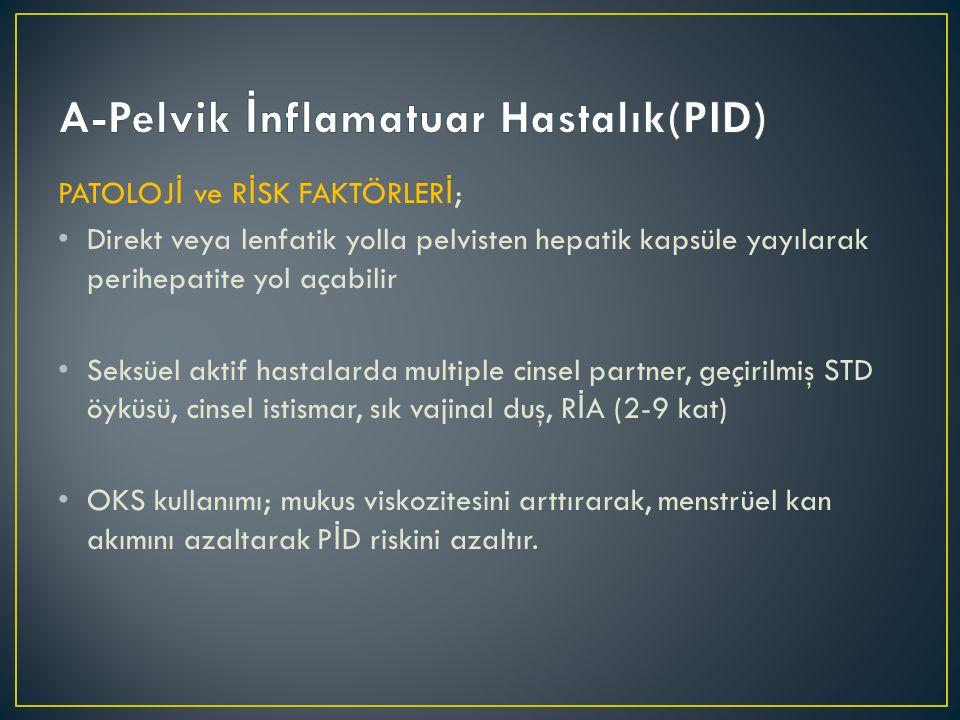 PATOLOJ İ ve R İ SK FAKTÖRLER İ ; Direkt veya lenfatik yolla pelvisten hepatik kapsüle yayılarak perihepatite yol açabilir Seksüel aktif hastalarda mu