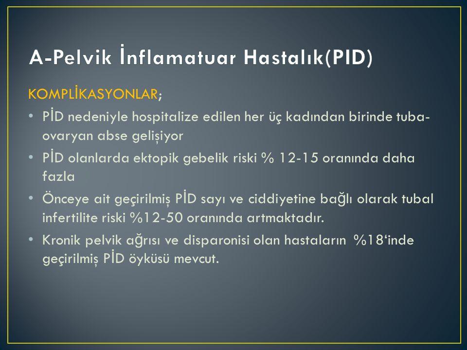 KOMPL İ KASYONLAR; P İ D nedeniyle hospitalize edilen her üç kadından birinde tuba- ovaryan abse gelişiyor P İ D olanlarda ektopik gebelik riski % 12-