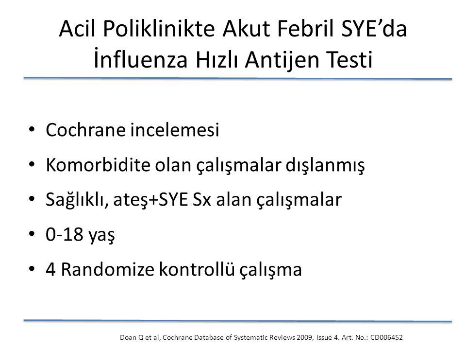 Cochrane incelemesi Komorbidite olan çalışmalar dışlanmış Sağlıklı, ateş+SYE Sx alan çalışmalar 0-18 yaş 4 Randomize kontrollü çalışma Acil Poliklinikte Akut Febril SYE'da İnfluenza Hızlı Antijen Testi Doan Q et al, Cochrane Database of Systematic Reviews 2009, Issue 4.