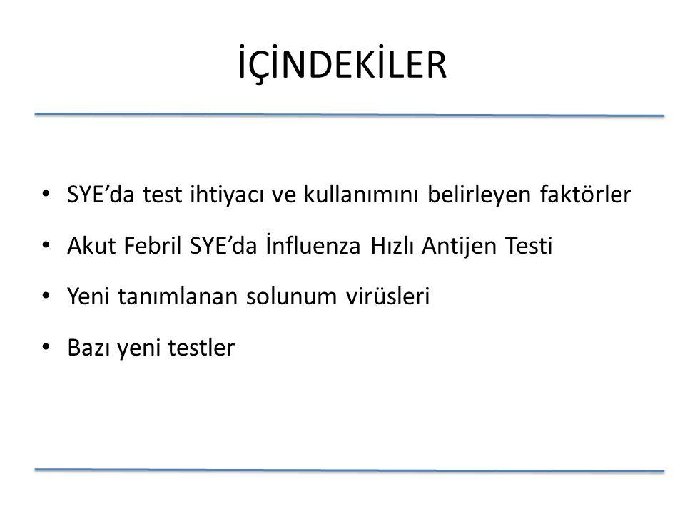 İÇİNDEKİLER SYE'da test ihtiyacı ve kullanımını belirleyen faktörler Akut Febril SYE'da İnfluenza Hızlı Antijen Testi Yeni tanımlanan solunum virüsleri Bazı yeni testler