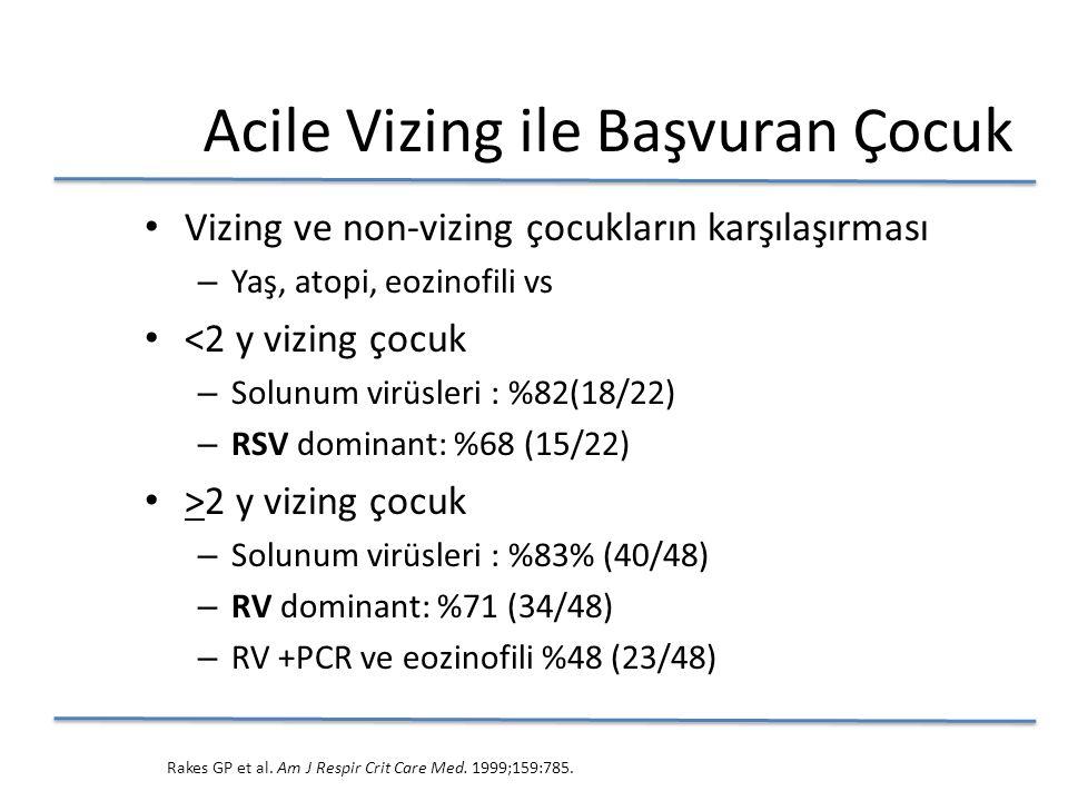 Vizing ve non-vizing çocukların karşılaşırması – Yaş, atopi, eozinofili vs <2 y vizing çocuk – Solunum virüsleri : %82(18/22) – RSV dominant: %68 (15/22) >2 y vizing çocuk – Solunum virüsleri : %83% (40/48) – RV dominant: %71 (34/48) – RV +PCR ve eozinofili %48 (23/48) Rakes GP et al.