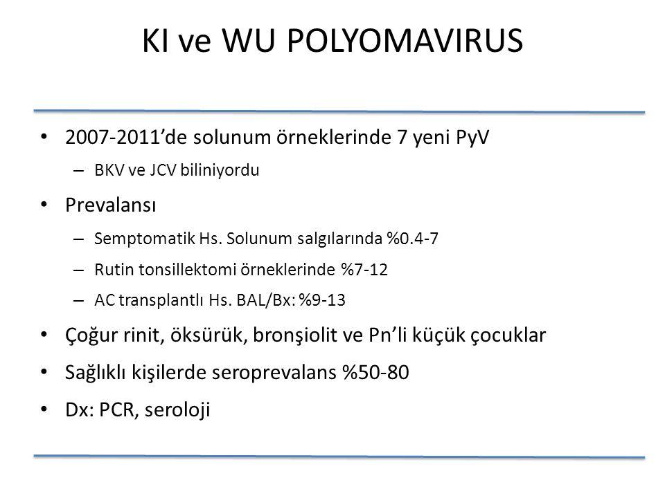 KI ve WU POLYOMAVIRUS 2007-2011'de solunum örneklerinde 7 yeni PyV – BKV ve JCV biliniyordu Prevalansı – Semptomatik Hs.