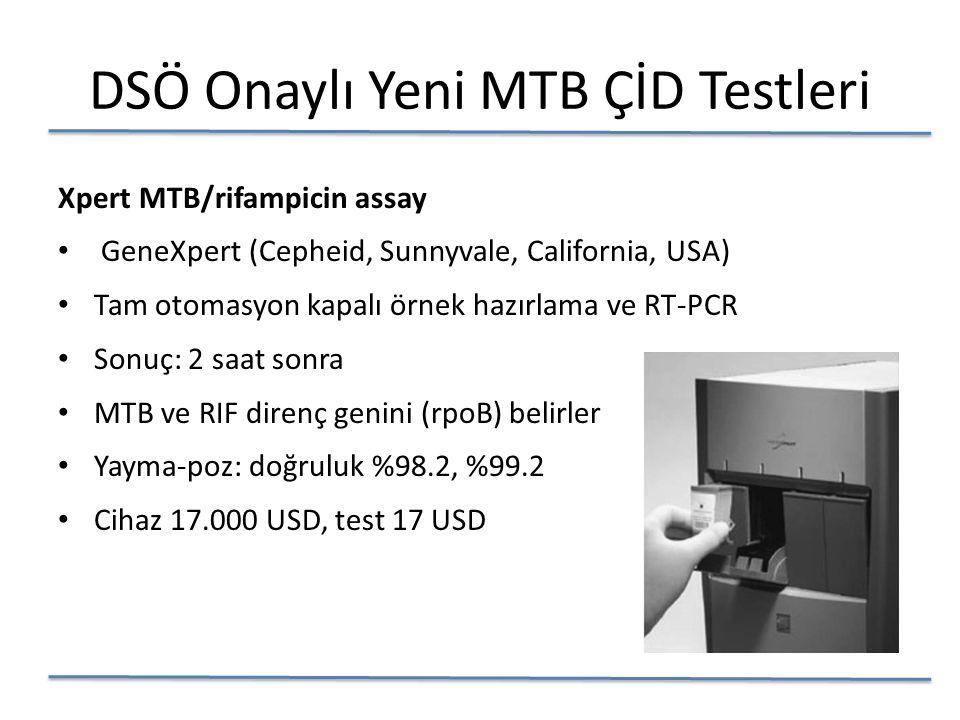 DSÖ Onaylı Yeni MTB ÇİD Testleri Xpert MTB/rifampicin assay GeneXpert (Cepheid, Sunnyvale, California, USA) Tam otomasyon kapalı örnek hazırlama ve RT-PCR Sonuç: 2 saat sonra MTB ve RIF direnç genini (rpoB) belirler Yayma-poz: doğruluk %98.2, %99.2 Cihaz 17.000 USD, test 17 USD