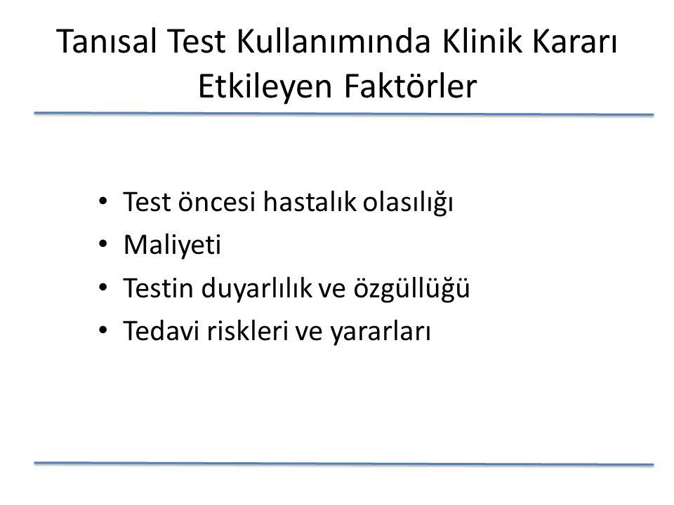 Tanısal Test Kullanımında Klinik Kararı Etkileyen Faktörler Test öncesi hastalık olasılığı Maliyeti Testin duyarlılık ve özgüllüğü Tedavi riskleri ve yararları