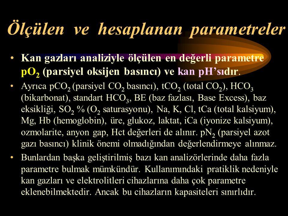Ölçülen ve hesaplanan parametreler Kan gazları analiziyle ölçülen en değerli parametre pO 2 (parsiyel oksijen basıncı) ve kan pH'sıdır. Ayrıca pCO 2 (