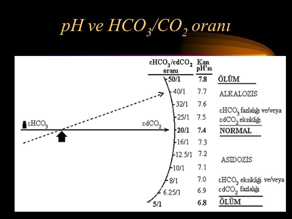 pH ve HCO 3 /CO 2 oranı