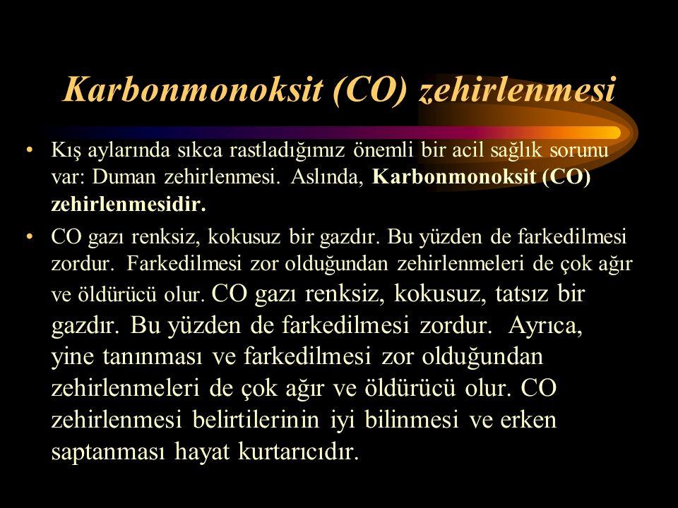 Karbonmonoksit (CO) zehirlenmesi Kış aylarında sıkca rastladığımız önemli bir acil sağlık sorunu var: Duman zehirlenmesi. Aslında, Karbonmonoksit (CO)