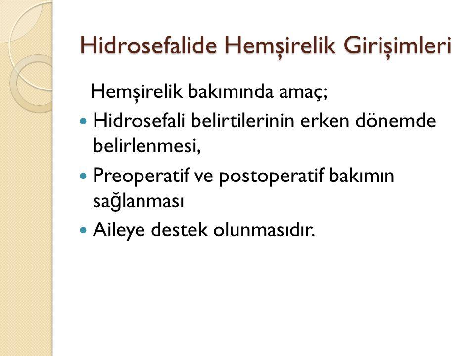 Hidrosefalide Hemşirelik Girişimleri Hemşirelik bakımında amaç; Hidrosefali belirtilerinin erken dönemde belirlenmesi, Preoperatif ve postoperatif bakımın sa ğ lanması Aileye destek olunmasıdır.