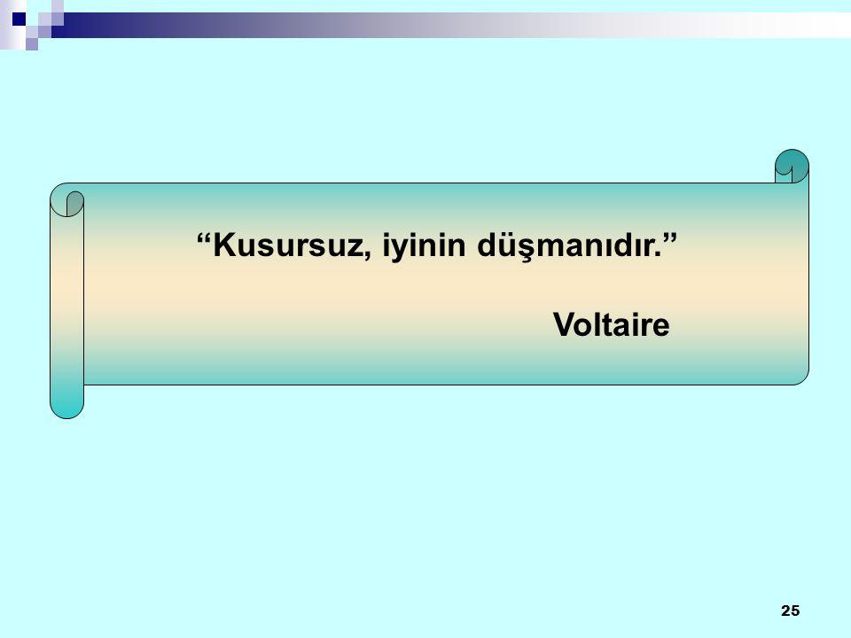 25 Kusursuz, iyinin düşmanıdır. Voltaire