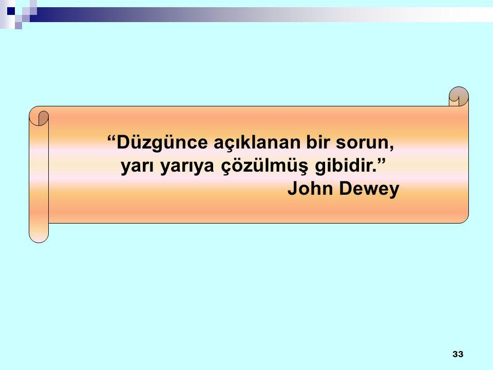 33 Düzgünce açıklanan bir sorun, yarı yarıya çözülmüş gibidir. John Dewey