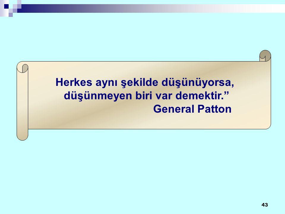 43 Herkes aynı şekilde düşünüyorsa, düşünmeyen biri var demektir. General Patton