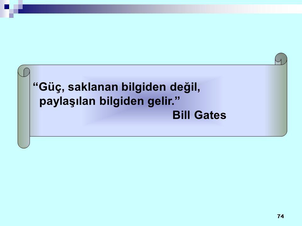 74 Güç, saklanan bilgiden değil, paylaşılan bilgiden gelir. Bill Gates