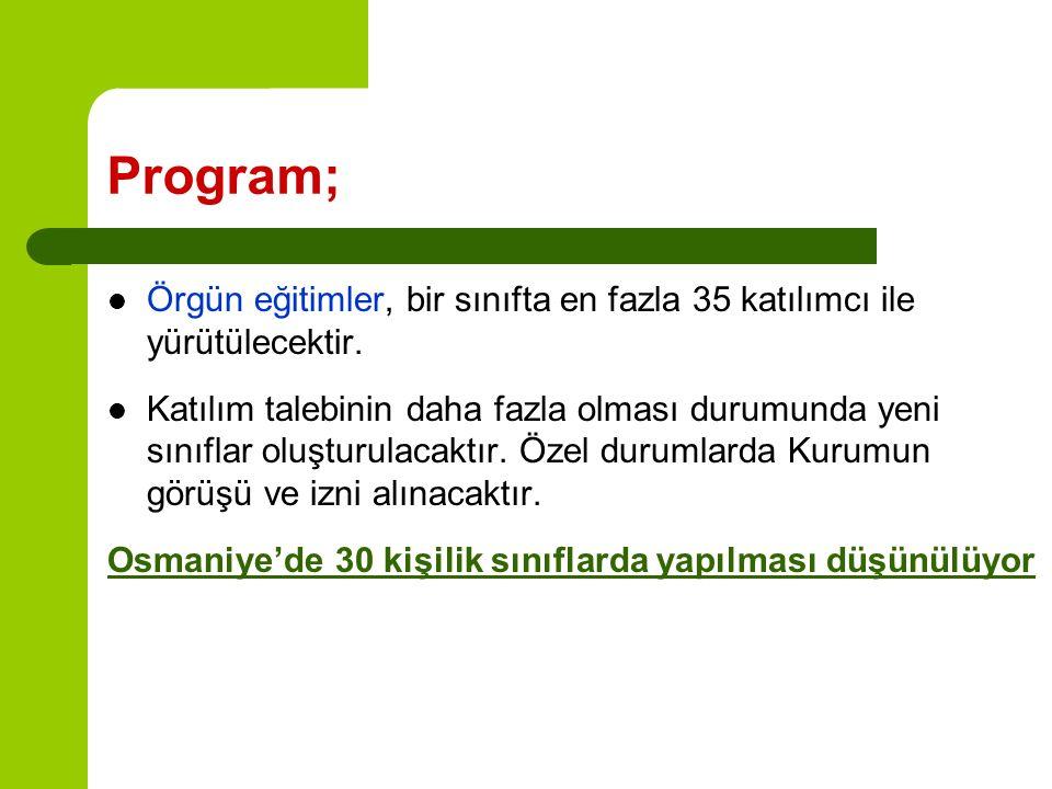 Program; Örgün eğitimler, bir sınıfta en fazla 35 katılımcı ile yürütülecektir.