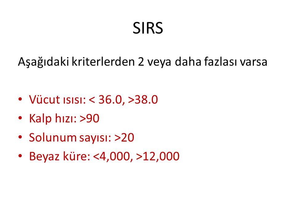 SIRS Aşağıdaki kriterlerden 2 veya daha fazlası varsa Vücut ısısı: 38.0 Kalp hızı: >90 Solunum sayısı: >20 Beyaz küre: 12,000