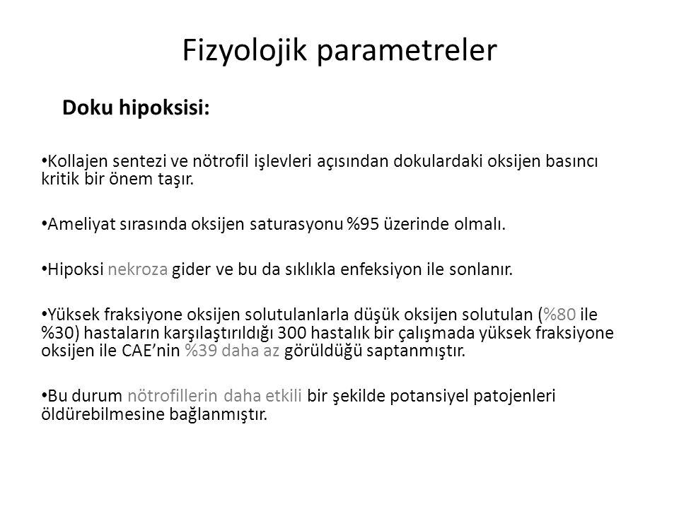 Fizyolojik parametreler Doku hipoksisi: Kollajen sentezi ve nötrofil işlevleri açısından dokulardaki oksijen basıncı kritik bir önem taşır.