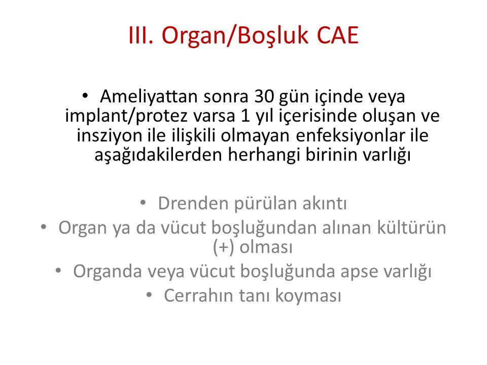 III. Organ/Boşluk CAE Ameliyattan sonra 30 gün içinde veya implant/protez varsa 1 yıl içerisinde oluşan ve insziyon ile ilişkili olmayan enfeksiyonlar