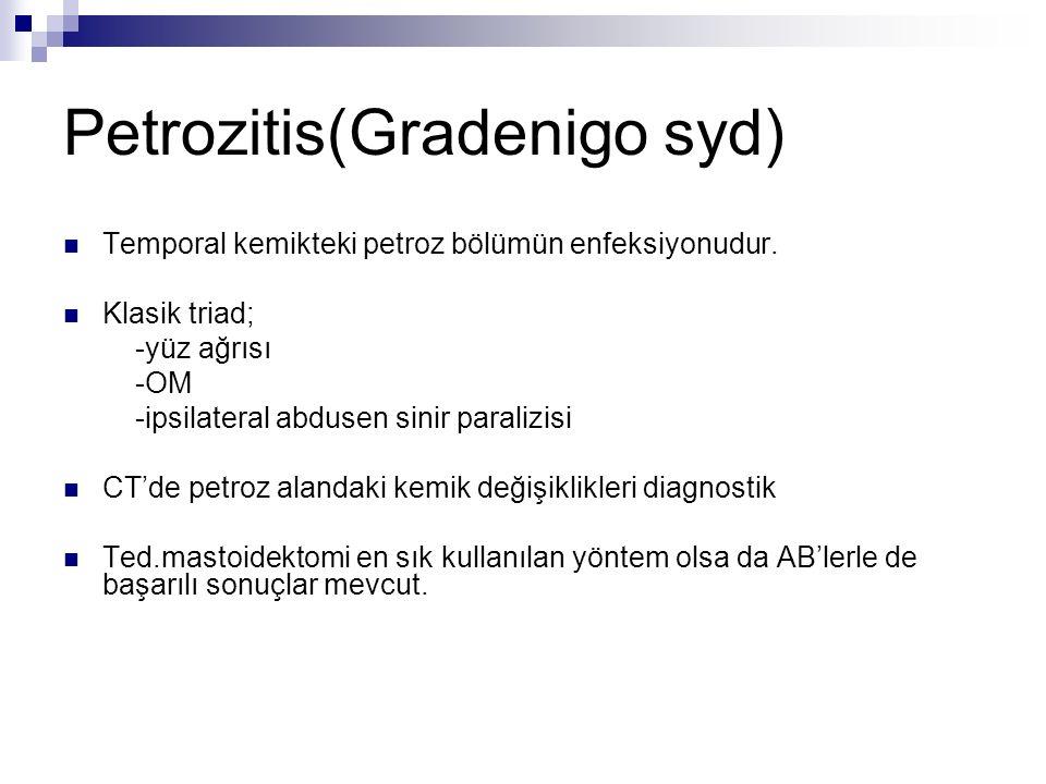 Petrozitis(Gradenigo syd) Temporal kemikteki petroz bölümün enfeksiyonudur. Klasik triad; -yüz ağrısı -OM -ipsilateral abdusen sinir paralizisi CT'de