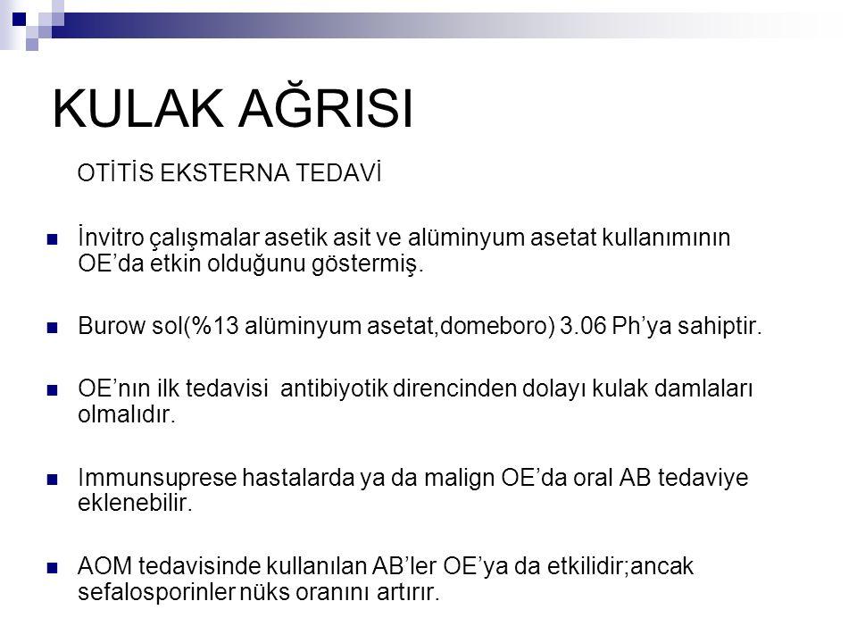 KULAK AĞRISI OTİTİS EKSTERNA TEDAVİ İnvitro çalışmalar asetik asit ve alüminyum asetat kullanımının OE'da etkin olduğunu göstermiş.