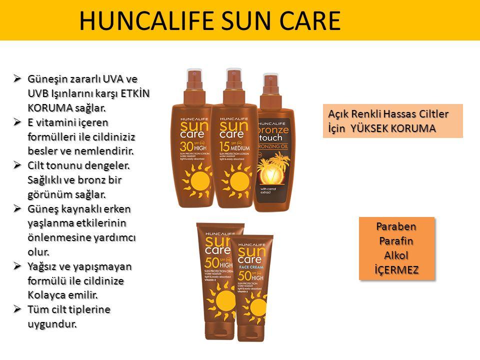 HUNCALIFE SUN CARE  Güneşin zararlı UVA ve UVB Işınlarını karşı ETKİN KORUMA sağlar.