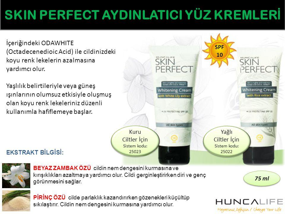 SKIN PERFECT AYDINLATICI YÜZ KREMLER İ İçeriğindeki ODAWHITE (Octadecenedioic Acid) ile cildinizdeki koyu renk lekelerin azalmasına yardımcı olur.