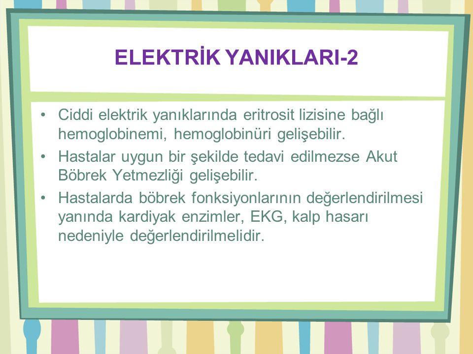 ELEKTRİK YANIKLARI-1 Şiddetine göre yüksek ve düşük (1000 volt üzeri ve altı) voltajlı olmak üzere ikiye ayrılır. Düşük voltajlı yanıklar diğer yanık