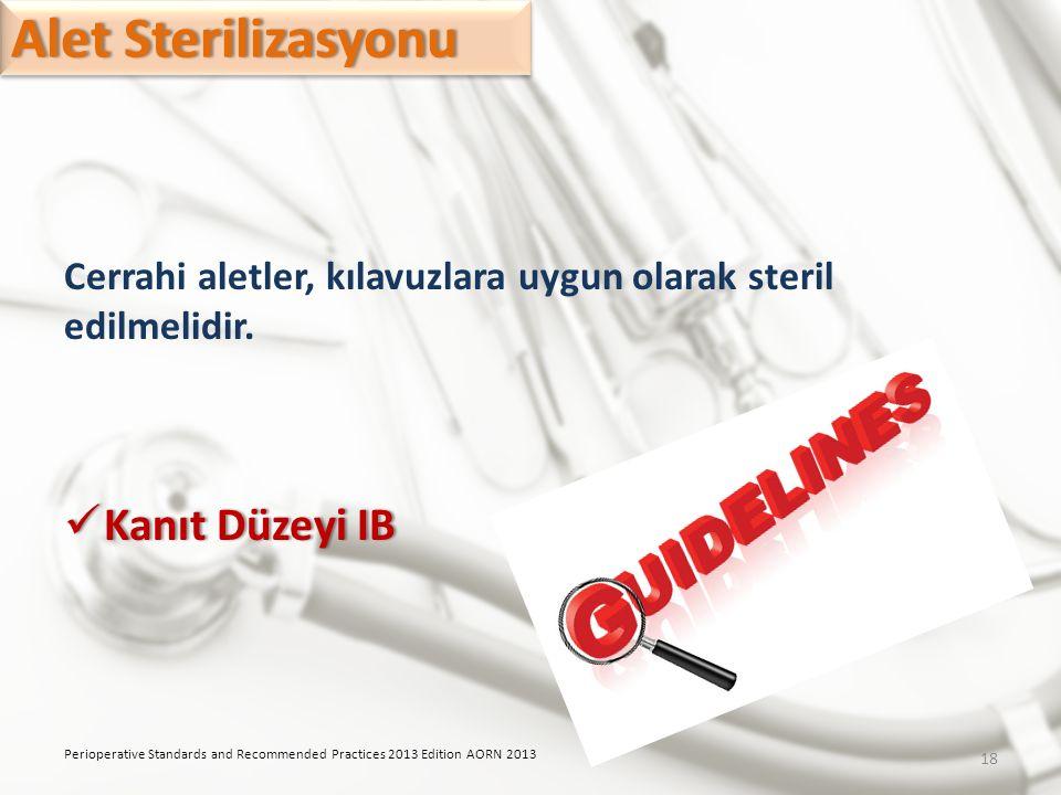 Alet SterilizasyonuAlet Sterilizasyonu Cerrahi aletler, kılavuzlara uygun olarak steril edilmelidir. Kanıt Düzeyi IB Kanıt Düzeyi IB Perioperative Sta