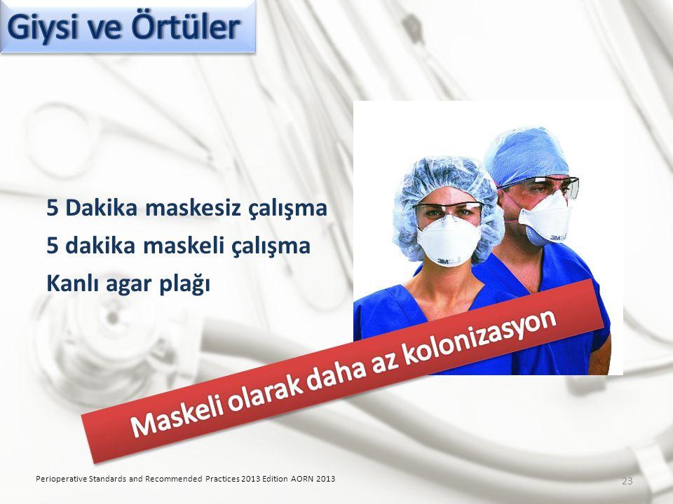 5 Dakika maskesiz çalışma 5 dakika maskeli çalışma Kanlı agar plağı Perioperative Standards and Recommended Practices 2013 Edition AORN 2013 23