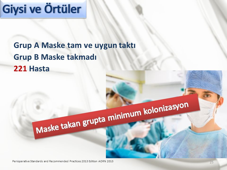 Grup A Maske tam ve uygun taktı Grup B Maske takmadı 221 Hasta Perioperative Standards and Recommended Practices 2013 Edition AORN 2013 25
