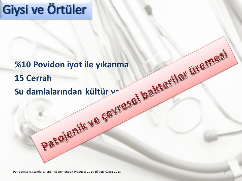 %10 Povidon iyot ile yıkanma 15 Cerrah Su damlalarından kültür yapılmış Perioperative Standards and Recommended Practices 2013 Edition AORN 2013 29