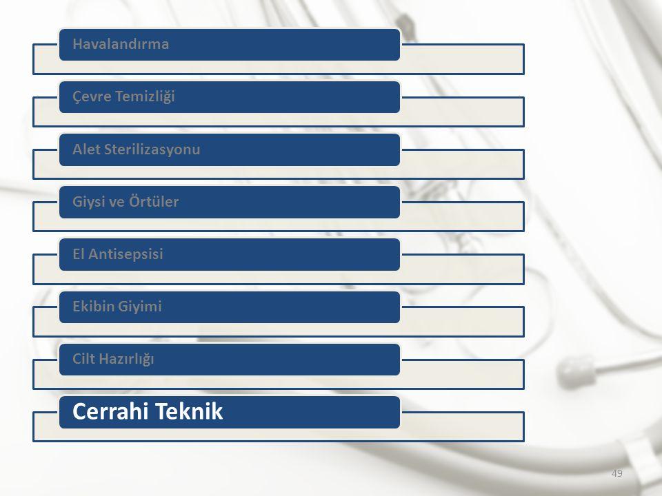 HavalandırmaÇevre TemizliğiAlet SterilizasyonuGiysi ve Örtüler El AntisepsisiEkibin Giyimi Cilt Hazırlığı Cerrahi Teknik 49