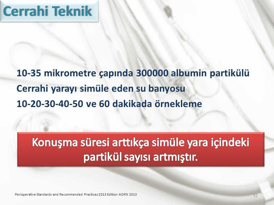 10-35 mikrometre çapında 300000 albumin partikülü Cerrahi yarayı simüle eden su banyosu 10-20-30-40-50 ve 60 dakikada örnekleme Perioperative Standard