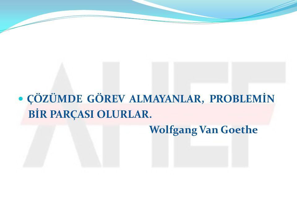 ÇÖZÜMDE GÖREV ALMAYANLAR, PROBLEMİN BİR PARÇASI OLURLAR. Wolfgang Van Goethe