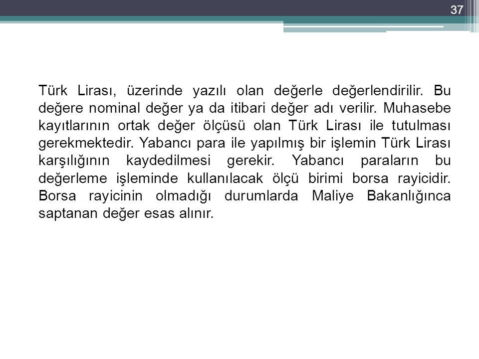 Türk Lirası, üzerinde yazılı olan değerle değerlendirilir. Bu değere nominal değer ya da itibari değer adı verilir. Muhasebe kayıtlarının ortak değer