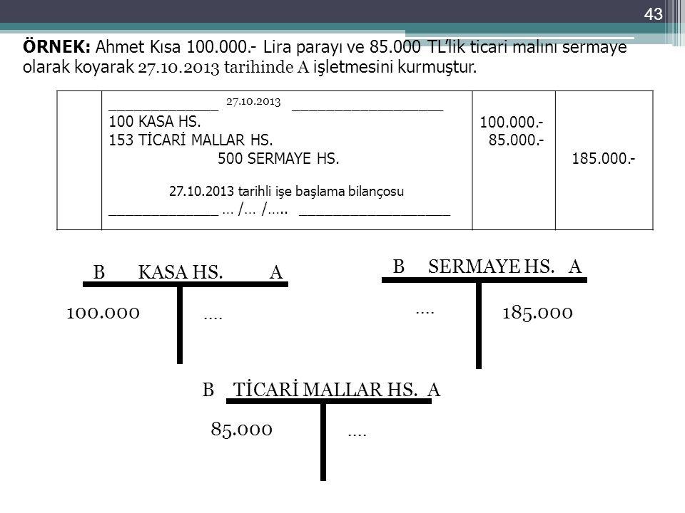 ÖRNEK: Ahmet Kısa 100.000.- Lira parayı ve 85.000 TL'lik ticari malını sermaye olarak koyarak 27.10.2013 tarihinde A işletmesini kurmuştur. __________