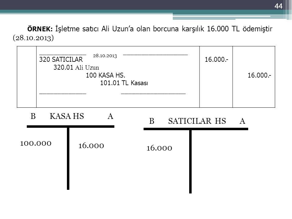 ÖRNEK: İşletme satıcı Ali Uzun'a olan borcuna karşılık 16.000 TL ödemiştir (28.10.2013) _____________ __________________ 320 SATICILAR 320.01 Ali Uzun
